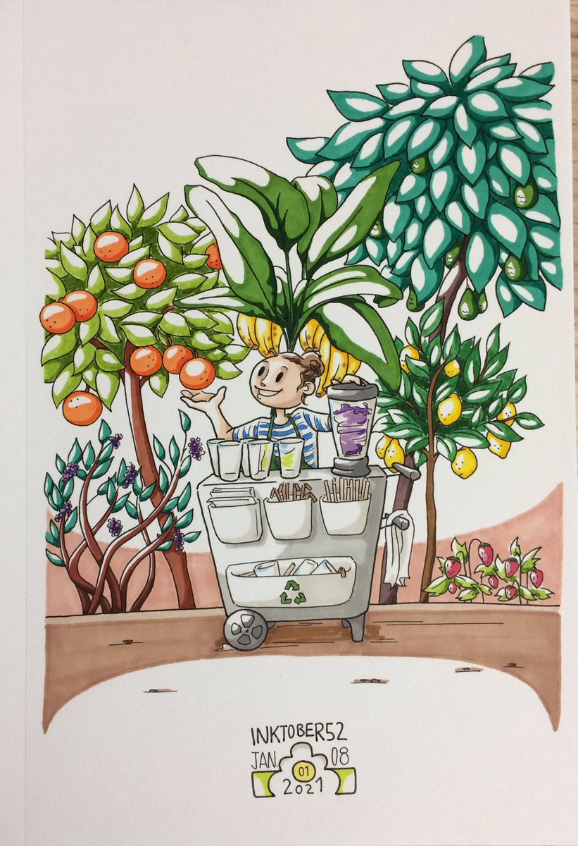 Inktober52 2021! Week 01. List: @mrjakeparker  #fresh  This woman serves fresh smoothies made out of fresh fruits! 😋 #frais #inktober #inktober2021 #inktober52 #inktober52week01 #fruits #organic #smoothie #bananas #oranges #lemons #avocados #strawberries #blueberries #vegetarian