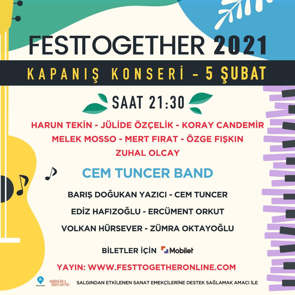 🎉 Festtogether Kapanış Konseri'ni 5 Şubat 21.30'da  üzerinden izleyebilirsiniz. Bilet gelirinin tamamının sanat emekçilerine aktarılacağı konserin biletlerini 'dan alabilirsiniz. Görüşmek üzere! 💙✨  #evdendestekol #Festtogether