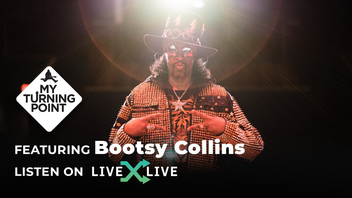 The legendary @Bootsy_Collins joins host @SBaltin to discuss what it was like playing with @george_clinton & #JamesBrown, his new album and much more on this episode of My Turning Point ⚡️  Listen: