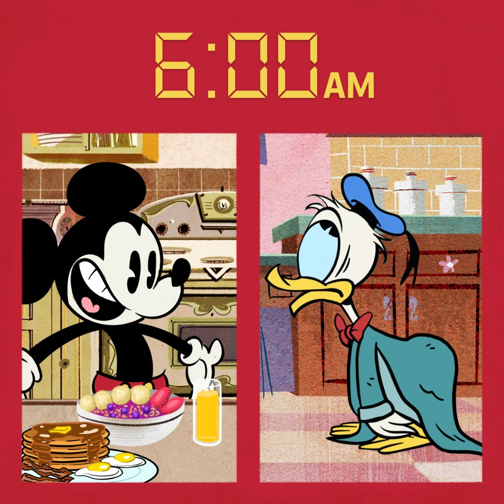 Good morning, Mickey! ☀️ Sorry about the wake-up call, Donald. 💤