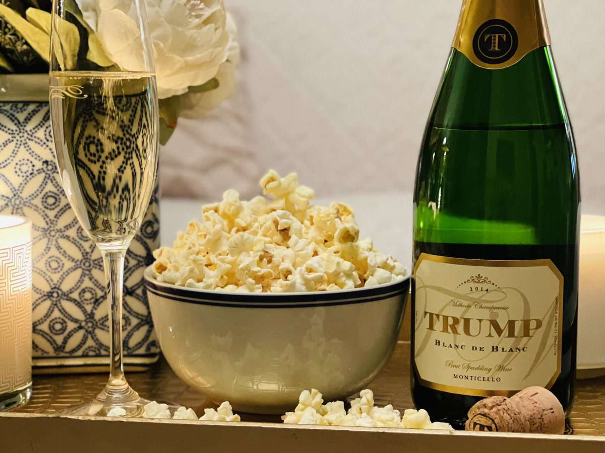 It's #NationalPopcornDay 🍿. Did you know that popcorn is a perfect pairing for our Blanc de Blanc? The bright acidity, toasty notes, and tiny bubbles are an ideal match for a bowl of buttery, crisp popcorn.  #TrumpWinery #NeverSettle