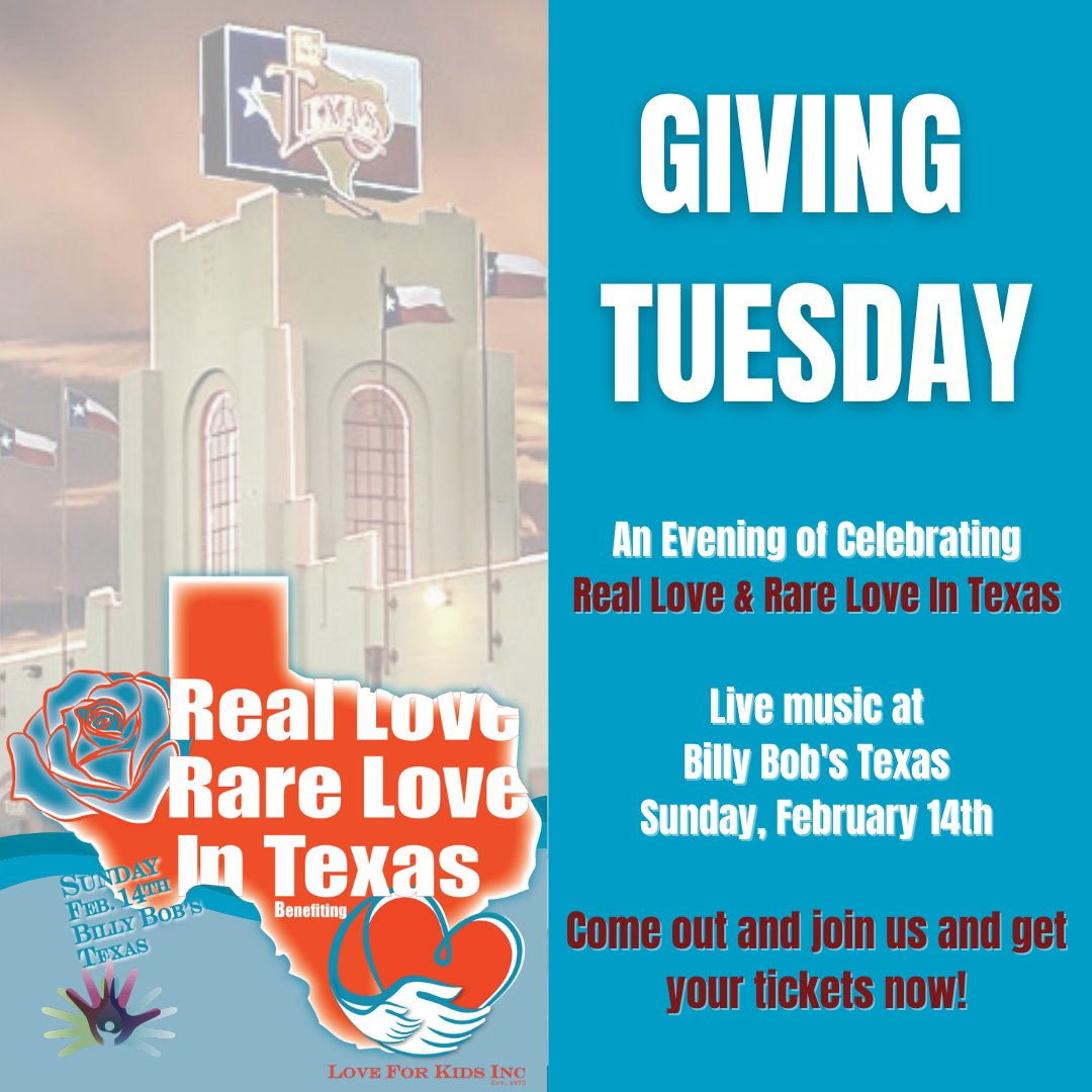 Join us on February 14th with your favorite loved one and have a fun night benefitting children with rare conditions!   Get your tickets at the link in our bio and #givelove!  #loveforkids #givingtuesday #loveforkidsinc #raredisease #realloverarelove #rlrl #billybobs #nonprofit