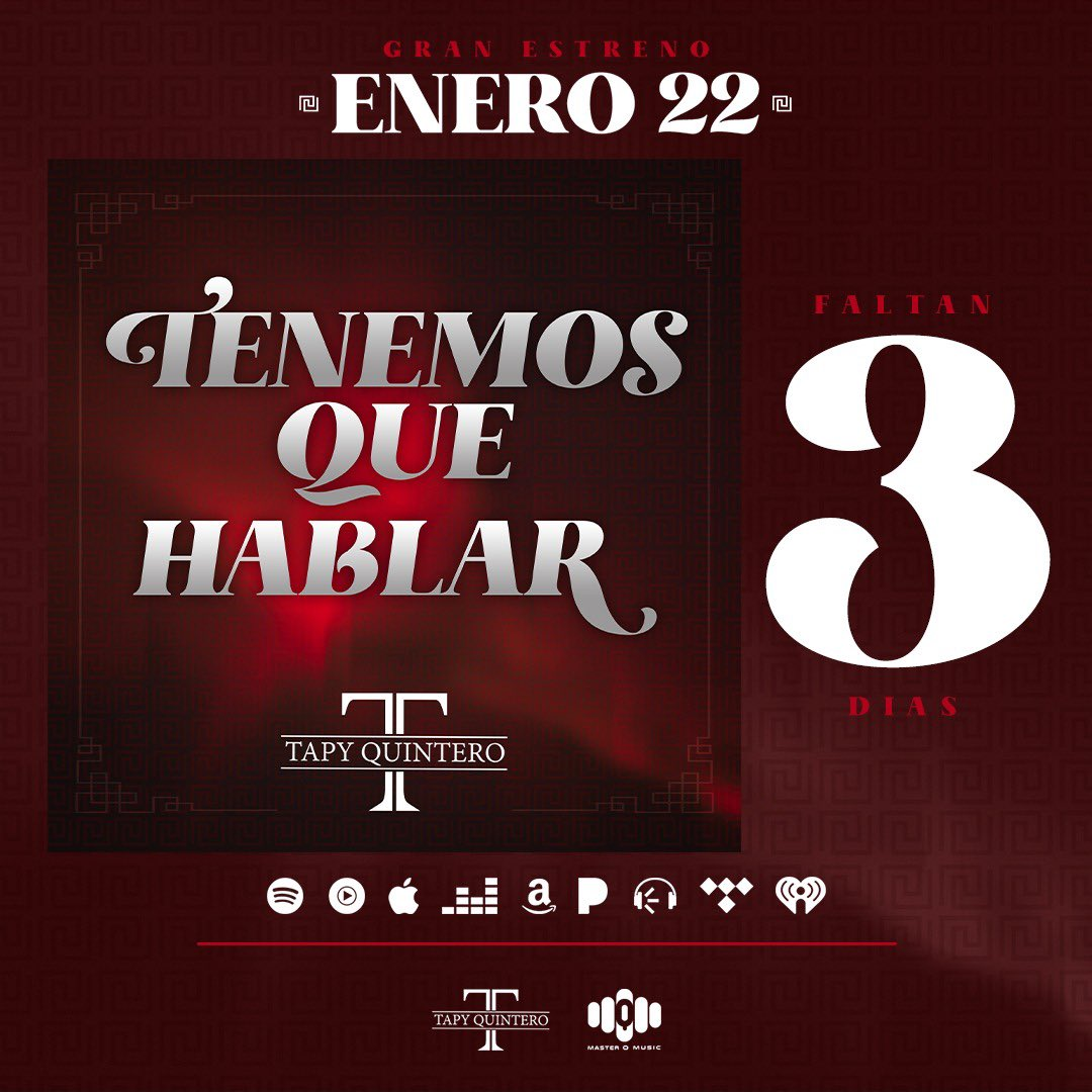 "Faltan 3  días para el estreno de ""Tenemos Que Hablar"" #TapyQuintero #MasterQMusic ¡Pre Guárdalo Ya! ➤ https://t.co/gpEttvYt4u https://t.co/HZ2rjdD3Qm"