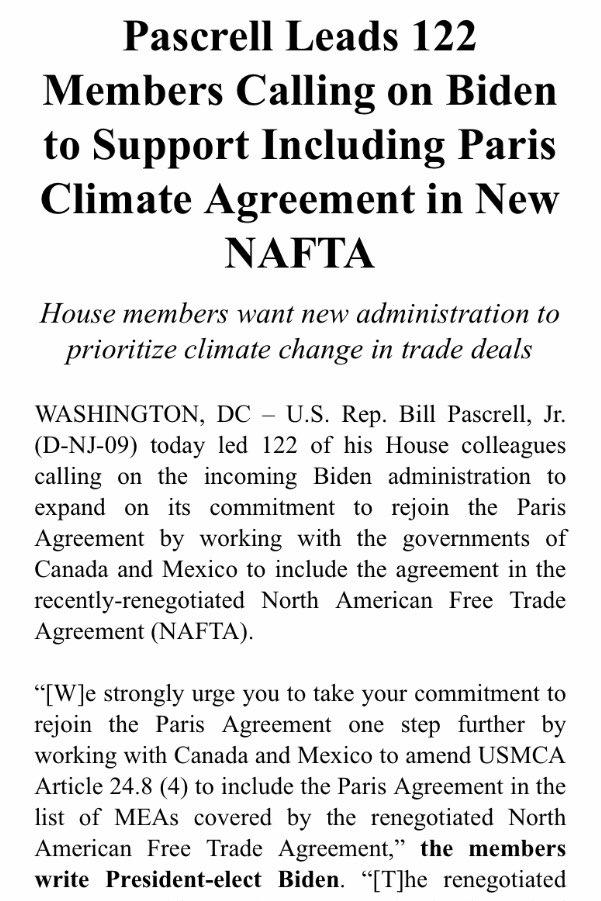 Battling climate change and reentering the Paris Agreement will be a top priority for our new government.   Today I'm leading 122 of my colleagues urging Pres Biden to make sure NAFTA and our international partners incorporate the Paris tenets into our trade deals.
