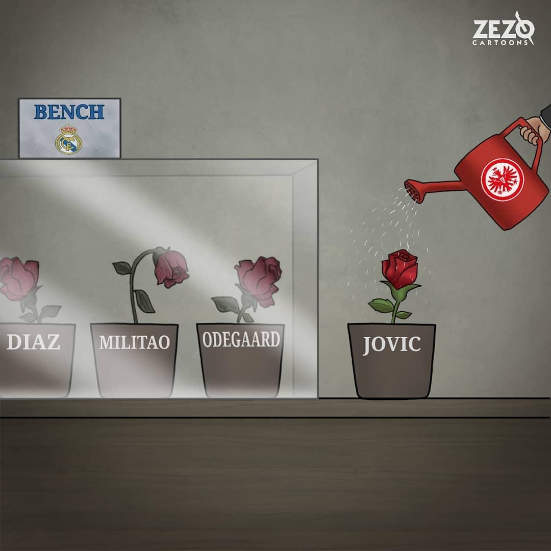 Algo pasa... 🤔💭  Se marchita el talento en la banca del #RealMadrid   ¡Hay qué regar!   #Jovic arranca con buen pie su préstamo; 28' 2️⃣⚽  Síguenos ⚽👏🏻 #DerbiMundial