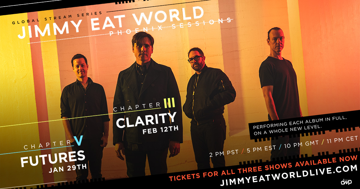 "Listen to @kevankenney this week in the 8pm hour for a chance to win your way into @jimmyeatworld's Global Stream Series, to see albums ""Futures"" and ""Clarity"" performed in full! Listen for Kevan's nightly code word…then text the code word to 72881 for your chance to win!"