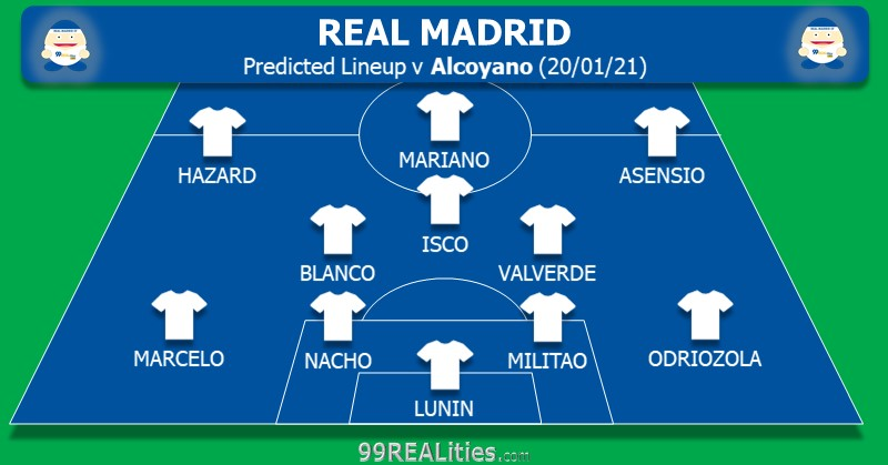 📢PREDICTED LINEUP⚽  Tomorrow it's rotation time for Zidane's #RealMadrid !  But will Blanco get his debut from start or will Zidane choose a more recognizable midfield? And is this a game for Hazard to get some confidence or will Vini get to play?  #ZidanesSurprises