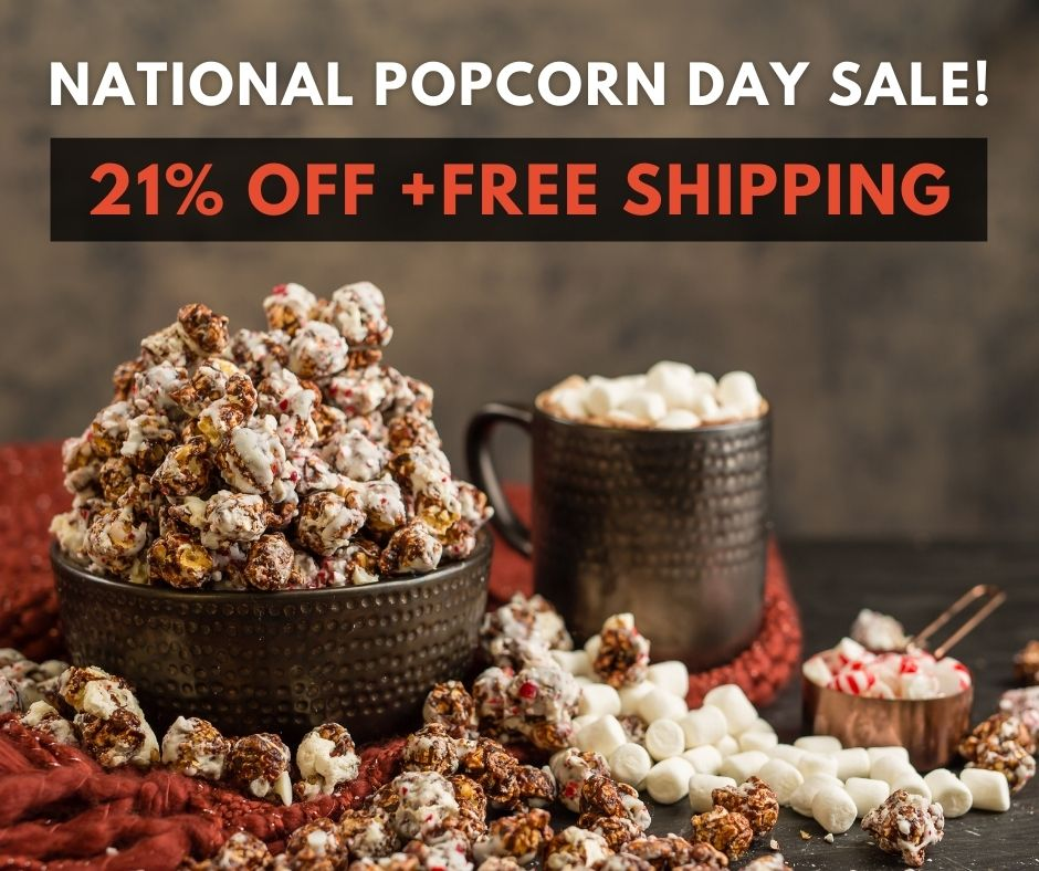 January 19 is #NationalPopcornDay! 🍿 To celebrate, we are offering our customers 21% off + Free Shipping on orders over $100 - Use #coupon code POP21 during checkout*  #sale #kosher #popcorn #gourmet #snacks #gifts #kosherfood