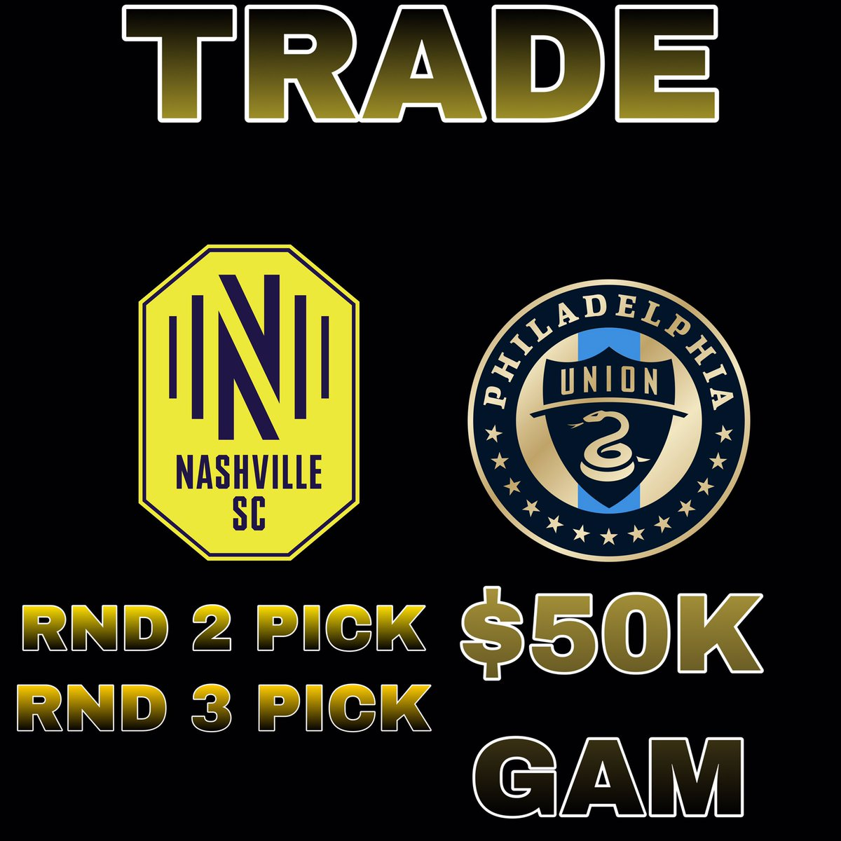 Nashville SC is trading $50,000 in GAM to the Philadelphia Union in exchange for second and third round MLS SuperDraft picks. #EveryoneN #DOOP
