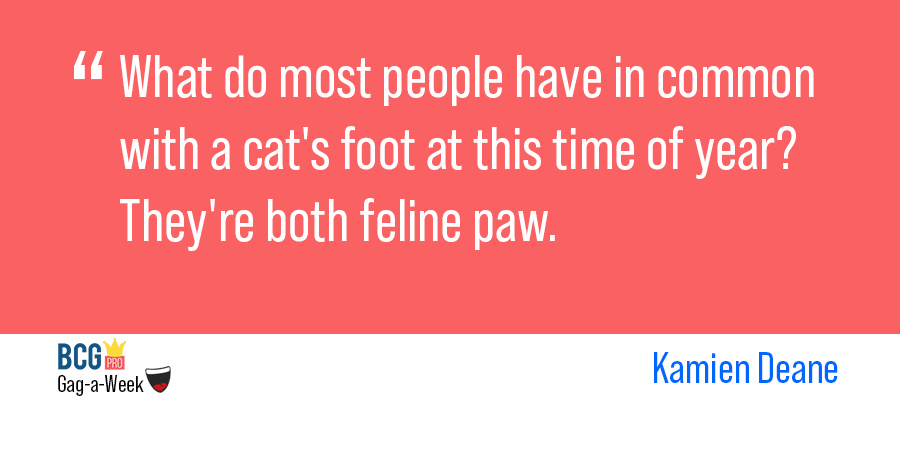 The latest @BCGPro Gag-a-Week winner is @KamienDeane, with this joke about cats. Enter this week's contest here: