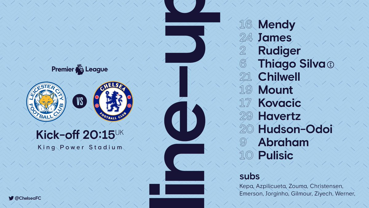Replying to @ChelseaFC: Tonight's team to take on Leicester! 🤝 #LEICHE