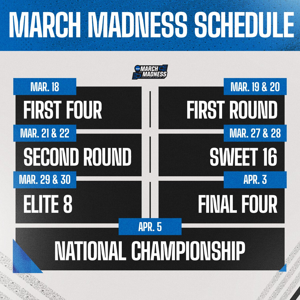 🚨 #MarchMadness Scheduling Update!  🏀 March 18 - First Four 🏀 March 19/20 - First Round 🏀 March 21/22 - Second Round 🏀 March 27/28 - Sweet 16 🏀 March 29/30 - Elite 8 🏀 April 3 - Final Four 🏀 April 5 - National Championship  👉