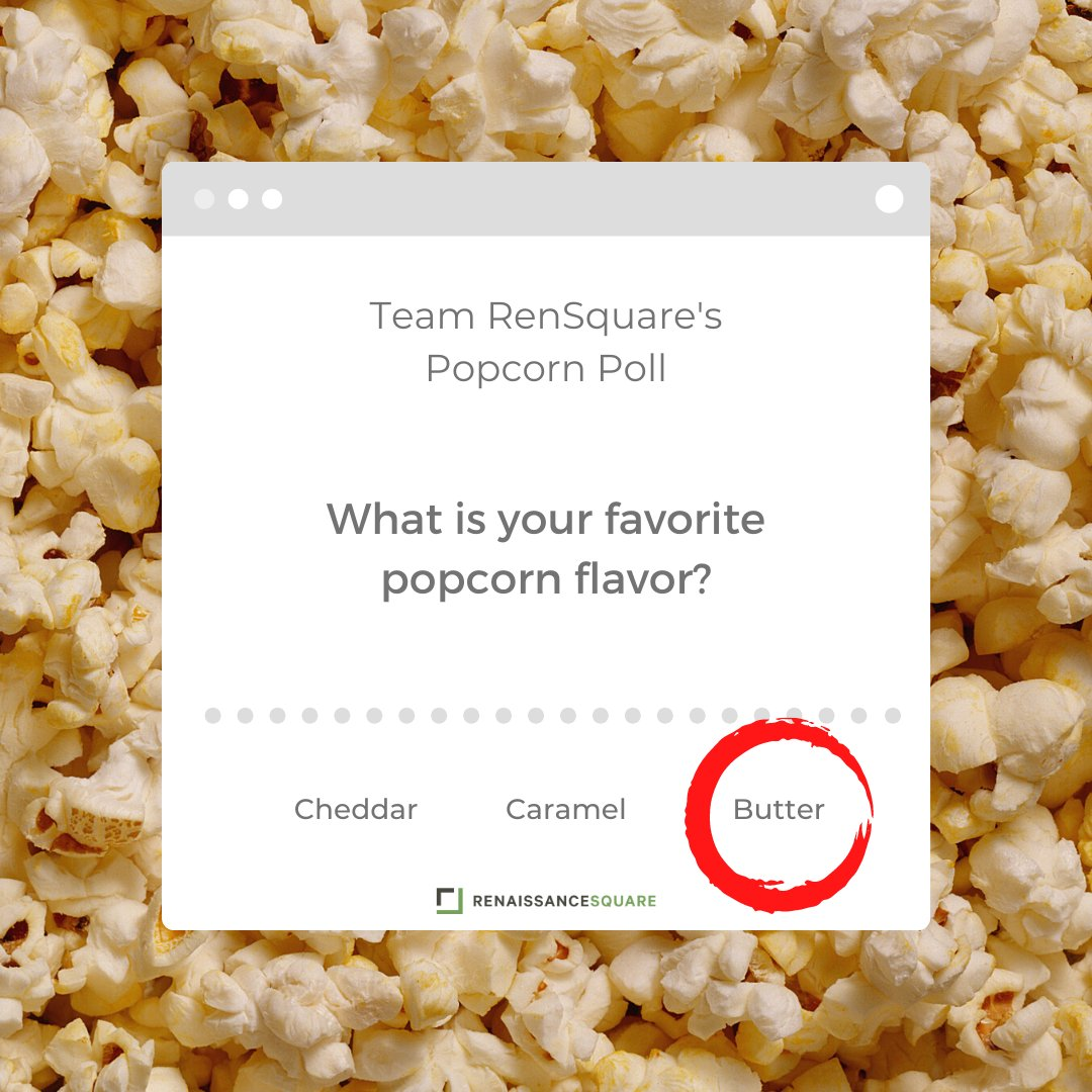 """Happy National Popcorn Day! The Ren Square team voted and Butter is our favorite type of popcorn! We are playing sports movies in the @RenSquarePhx lobbies, what a """"butter"""" way to spend the day! #NationalPopcornDay #rensquarephx #DTPHX #popcorn #caramelpopcorn #cheddarpopcorn"""