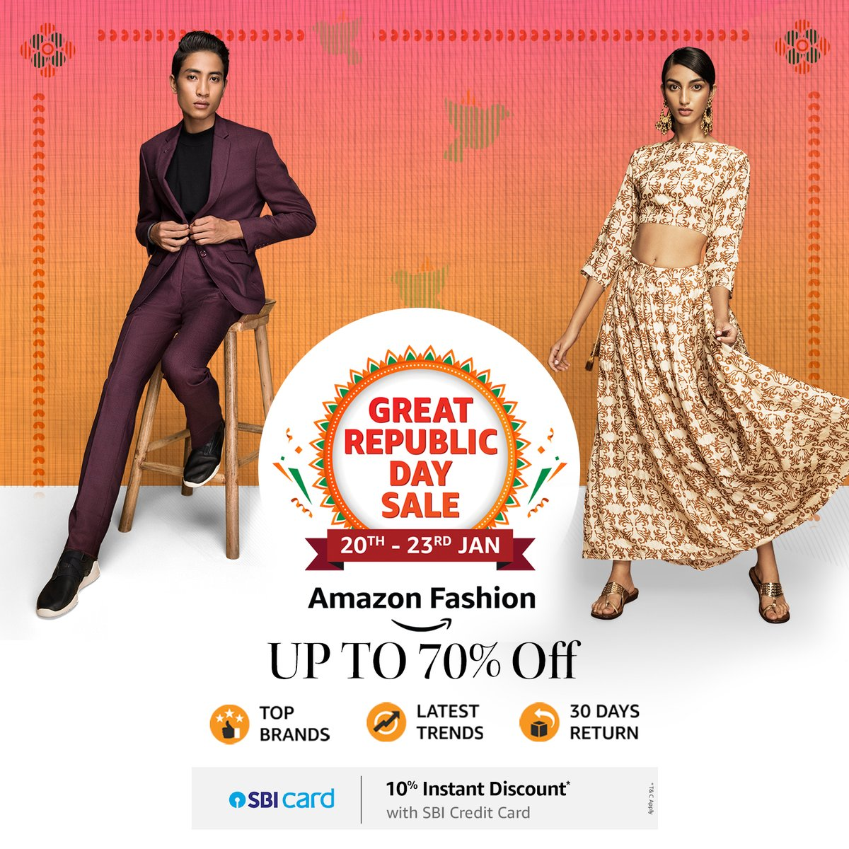 Citizens of Style, the #AmazonGreatRepublicDaySale is finally live. Check out the trendiest styles & latest brands on sale only on #AmazonFashion, all at up to 70% off:   #NewBeginningBigSavings #Sale #AmazonFashion #AmazonBeauty #HarPalFashionable