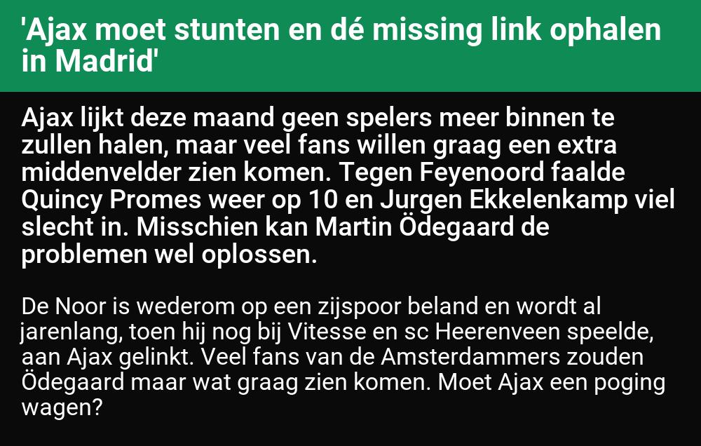 🤖 '#Ajax moet stunten en dé missing link ophalen in Madrid'  (#RealMadrid, Martin Odegaard)