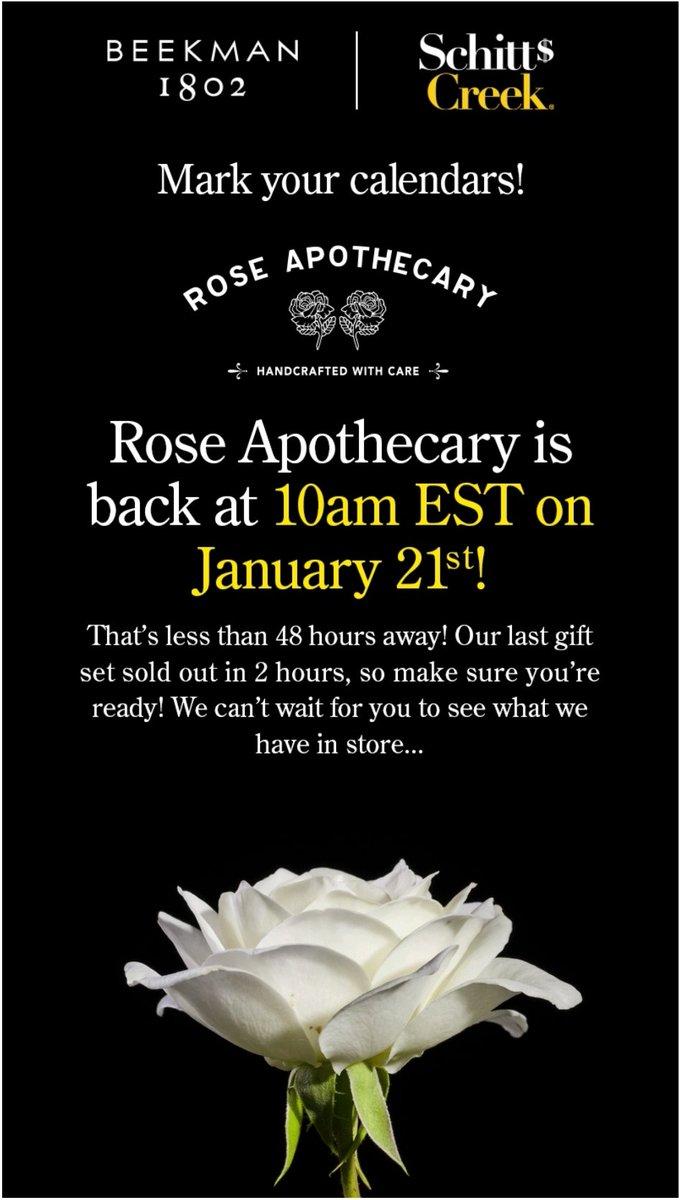 #SchittsCreek fans @Beekman1802Boys Rose Apothecary is back this Thursday 🖤🖤💛🖤 https://t.co/w371VS6VjL https://t.co/sh2oJK0a3q