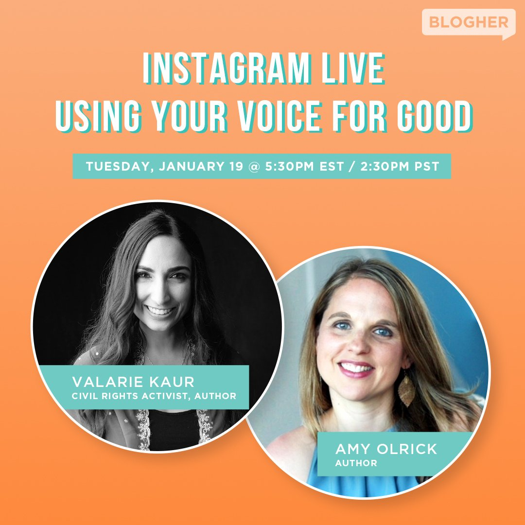 TODAY AT 2:30PM PT at @BlogHer Instagram LIVE. Join @ValarieKaur + author @AmyOlrick on why our voices matter, esp. as women, mothers and advocates. In these chaotic and uncertain times, these visionaries return us to the call of #revolutionarylove every time. Don't miss it!