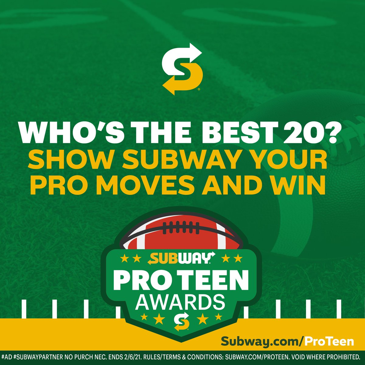.@Subway is looking for 20 high school football players with pro-level skills. Submit a video at . #ad #SubwayPartner Complete Official Rules at . Ends 2/6/21. #SubwayProTeenAwards