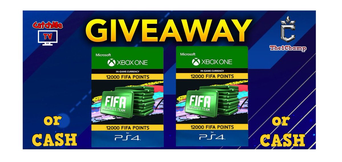 🚨GIVEAWAY ALERT 🚨  You missed the first one? Well don't miss this one! Join in on the fun & destroy 12K FIFA POINTS for #TOTY or claim up to $100 CASH  12,000 FIFA Points!               OR 💵CASH Equivalent!  1 Lucky Winner   Claim your entries here: