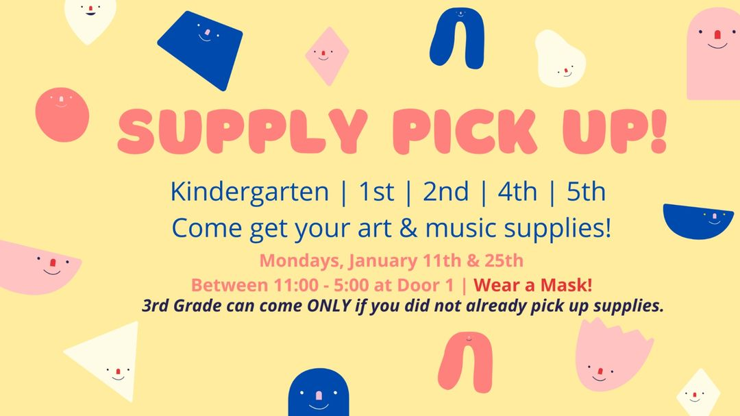 Art and Music Supply pick up on Monday, January 25, from 11am to 5pm. Please stop by and pick up supply kit at school at Door 1. <a target='_blank' href='http://twitter.com/HFBAllStars'>@HFBAllStars</a> <a target='_blank' href='http://twitter.com/hfbpta'>@hfbpta</a> <a target='_blank' href='http://twitter.com/MusicHFB'>@MusicHFB</a> <a target='_blank' href='https://t.co/v59Z0tWneg'>https://t.co/v59Z0tWneg</a>