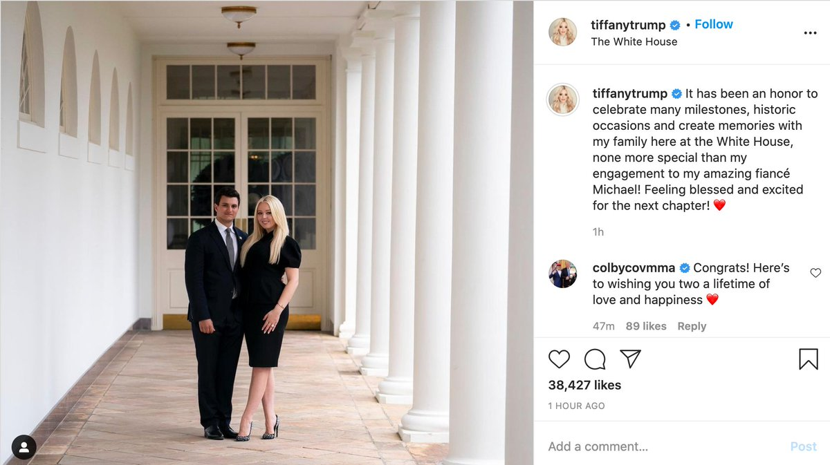 """""""Let's take our engagement announcement photo at the house my dad is getting evicted from tomorrow!"""" - Tiffany Trump"""