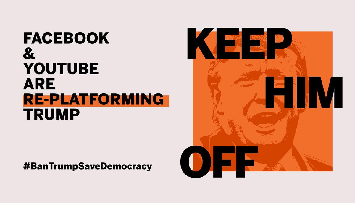 "Think Trump is leaving tomorrow?  Think again.   Facebook and YouTube STILL show THOUSANDS of Trump posts & videos with his election lies and calls to ""fight!""   RT & tell @Facebook @YouTube:  On January 20th, remove Trump from your platforms, PERMANENTLY!  #BanTrumpSaveDemocracy https://t.co/FnYeKMGgyq"
