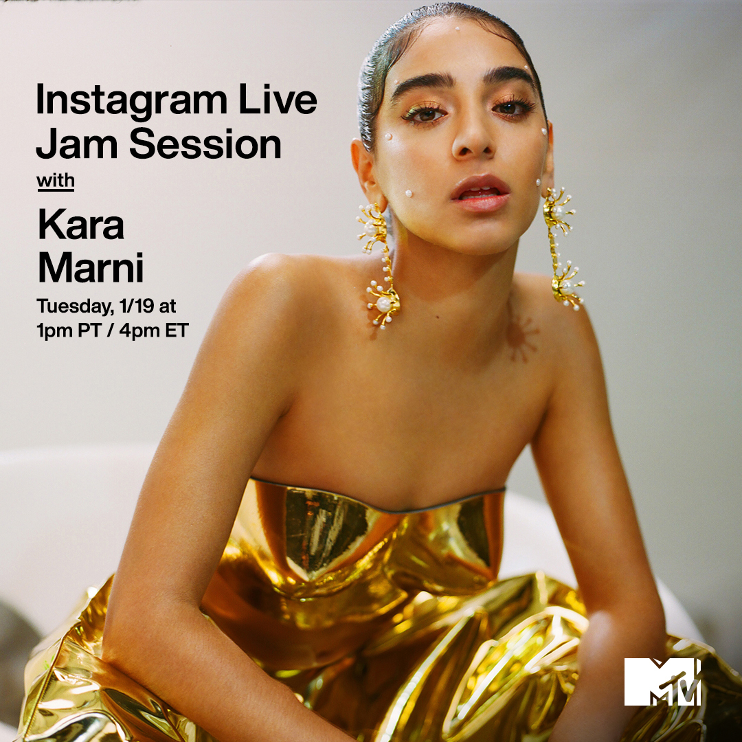 Join @KaraMarni for an exclusive #MTVJamSession on our IG Live TODAY at 1p PT / 4p ET! ☀️✨