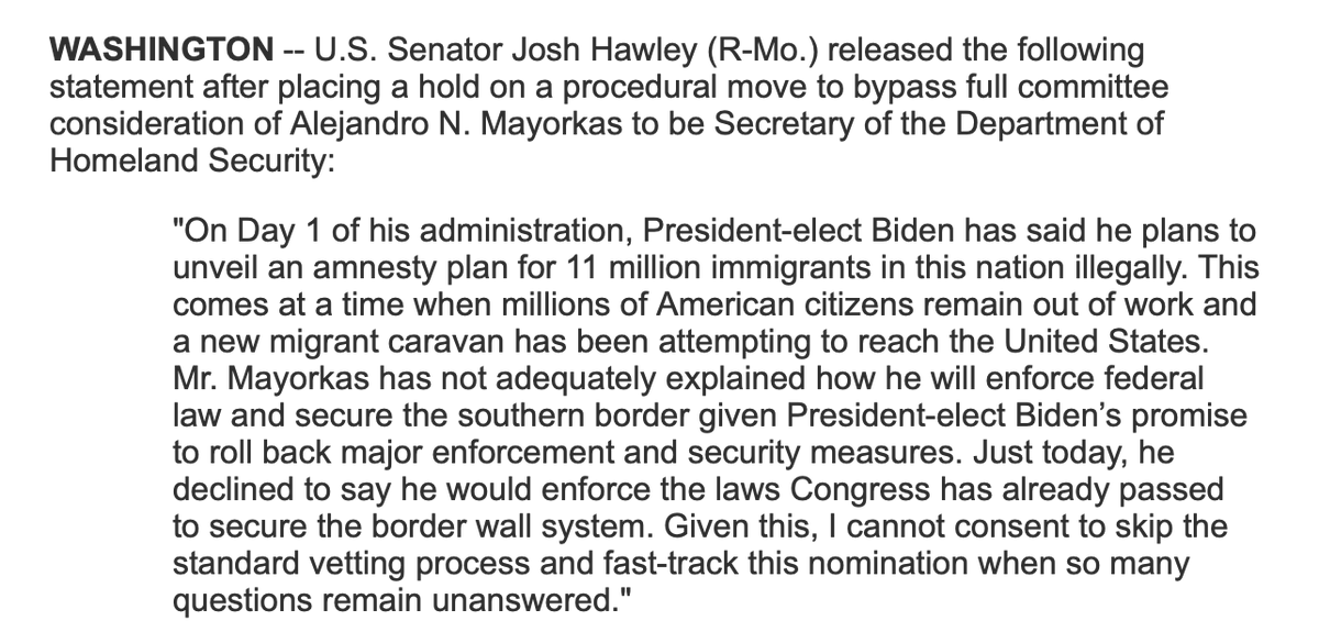 Sen. Hawley says he'll object to swift consideration of Biden's DHS nominee, Alejandro Mayorkas.