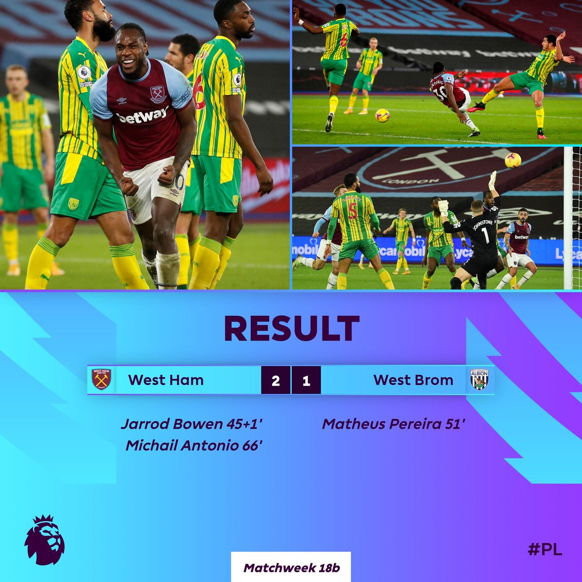 Michail Antonio nets the West Ham winner for the second time in four days  #WHUWBA