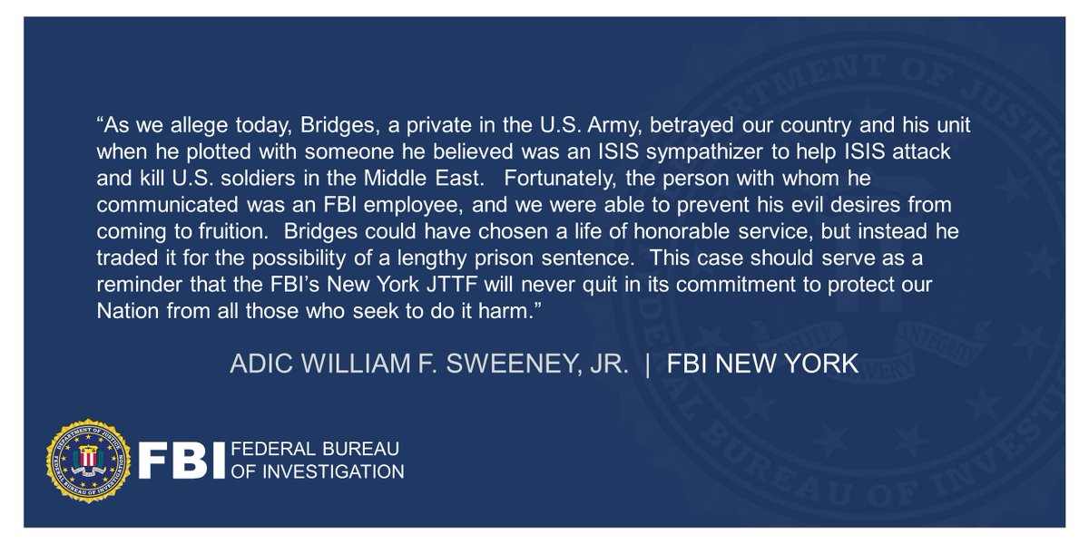 U.S. Army Soldier Arrested For Attempting To Help ISIS Conduct Deadly Ambush On U.S. Troops ADIC Sweeney: Bridges could have chosen a life of honorable service, but instead he traded it for the possibility of a lengthy prison sentence. ow.ly/bMcW50DcLWB Full statement: