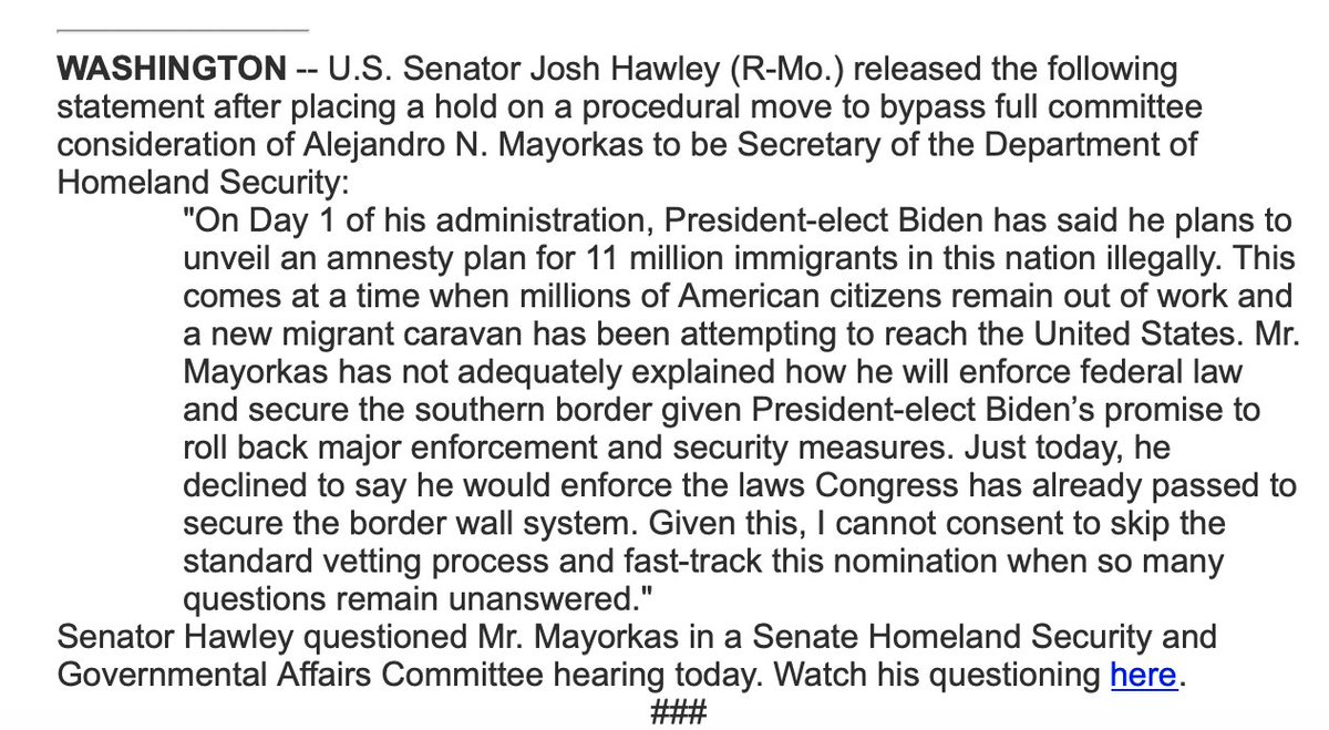 DHS was created to protect the homeland.   After an insurgency at the Capitol which some blame @HawleyMO in part, Hawley is putting a hold on Biden's DHS nominee, citing immigration.
