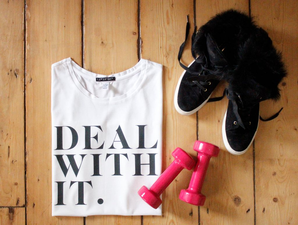 Our loose-fit, breathable #Organic cotton T-shirts are ideal for keeping you cool when working out.  SHOP NOW:   #DealWithIt #slogantee #ethicalfashion #ecofashion #sustainability #workout #sustainablefashion #organicliving #stayhome #homeworkout