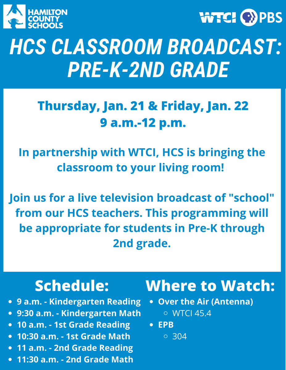 Exciting news! HCS will host a live learning show for Pre-K through 2nd grade students on Thursday and Friday morning on WTCI. Our HCS teachers will broadcast g live from the WTCI studio and will teach math, reading, PE, music, and more!