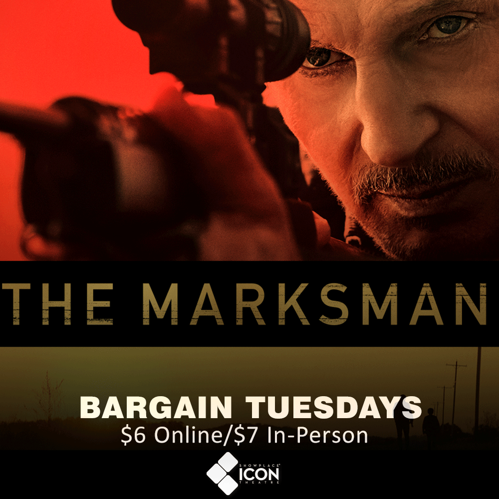 Join us on our #BargainTuesday for #TheMarksman - Now Playing! Reserve your seats ahead of time through the #EXTRAS App or website:  #MakeItICONIC #MovieTuesday #TwinCities #MN