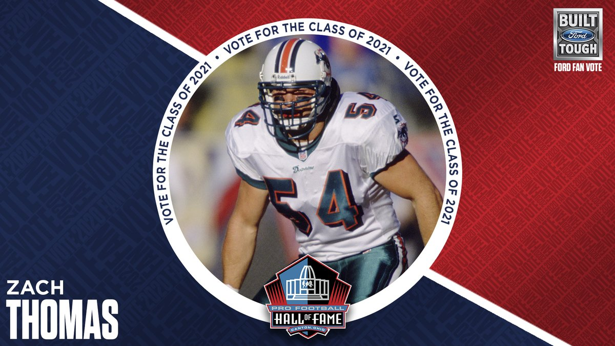 1 week left to vote for the #PFHOF21 Class!   Show your support for @MiamiDolphins legend Zach Thomas.  2021 Fan Vote: