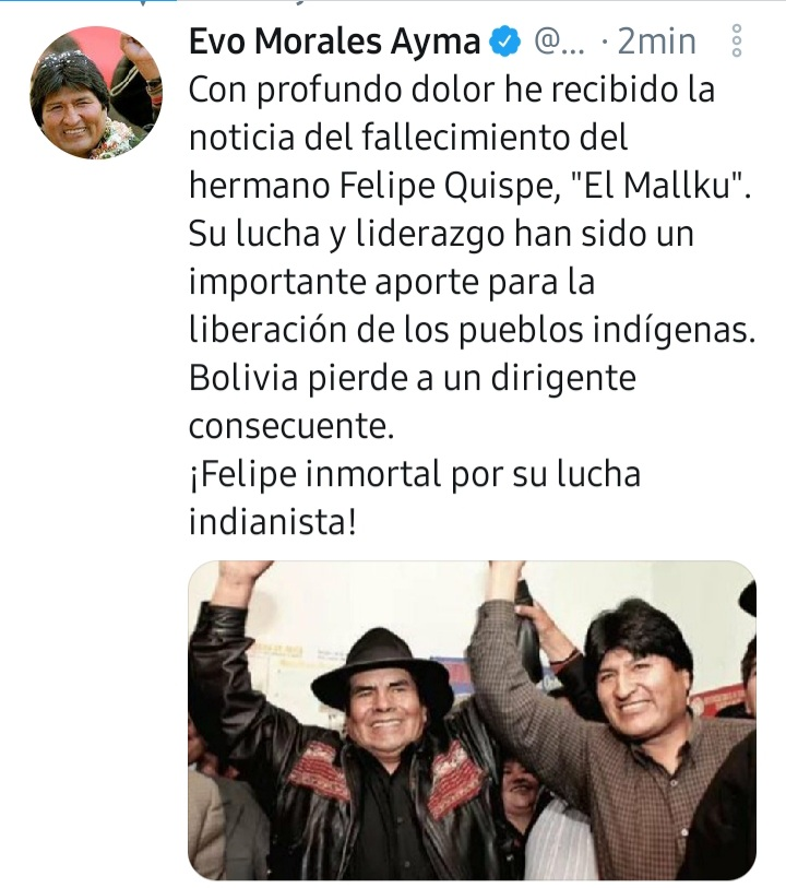 Evo Morales and Luis Arce pay tribute to El Mallku and his fight for liberation.