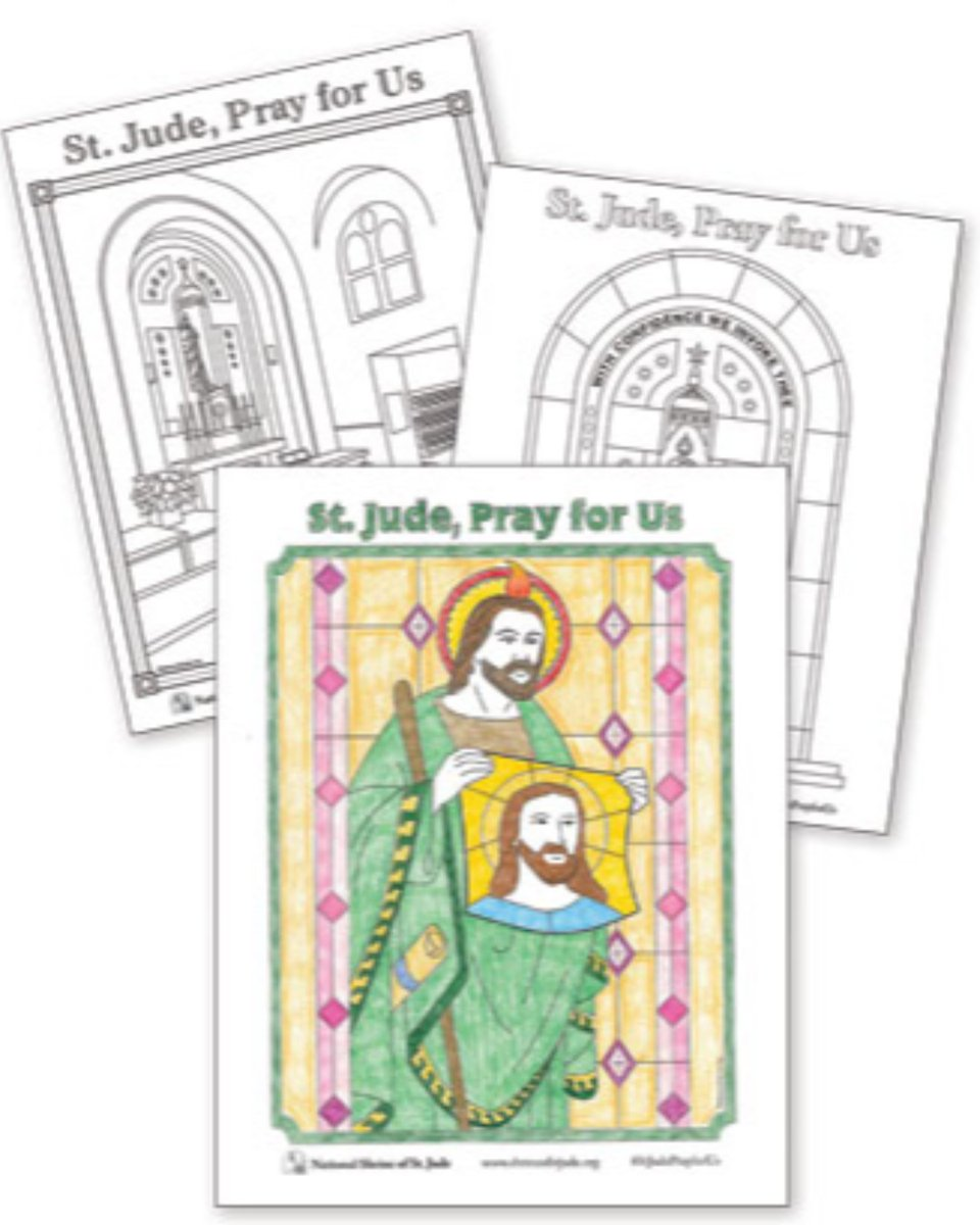 Need something fun to do with family? Download our National Shrine of St. Jude coloring pages!   Be sure to tag us and use #StJudePrayforUs with your finished pages! - #stjude #saintjude #color #coloringpages #catholic #saint #shrine #fun #activity #family
