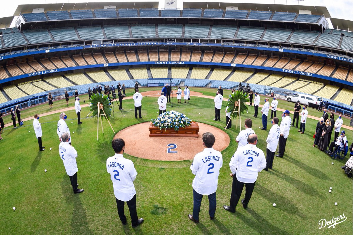 """I bleed Dodger blue and when I die, I'm going to the big Dodger in the sky.""  Friends and family of Tommy Lasorda gathered today at Dodger Stadium to pay their respects to the Hall of Fame manager."