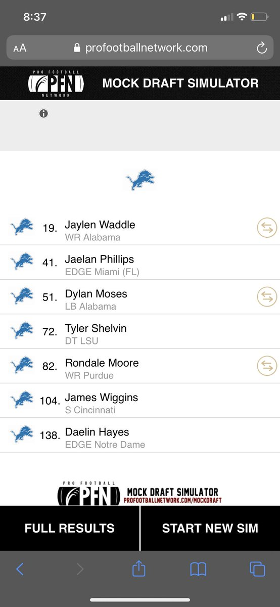 So is this mock draft I decided not to move on from number 9.. and Washington traded their 9th,41st and 51st pick for our 7th pick we had 5 top82 picks so instant contributions and 6 top105 picks👀🦁 #OnePride https://t.co/pe3p9wRqqH