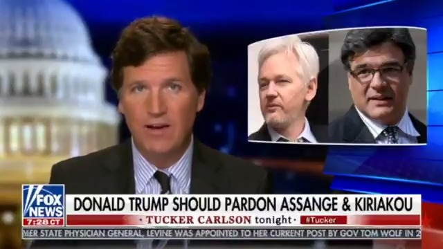 """Tucker Carlson Blasting GOP Establishment For Trying To Block Pardon Of Julian Assange  Tucker says that the Senate GOP, specifically Mitch McConnell """"has sent word over to the WH: if you pardon Julian Assange, we are much more likely to convict you in an impeachment trial."""""""