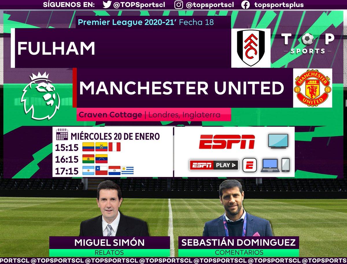 #PremierLeague 🏴⚽️ Fecha 18 Fulham [@FulhamFC] 🆚 Manchester United [@ManUtd_Es] 🎙️ Relatos: @migsim  🎙️ Comentarios: @sebadominguez6  🤳 #PREMIERxESPN | #FULMUN #PL 📺 ESPN Sudamérica 📱💻 ESPN Play 🔃❤️