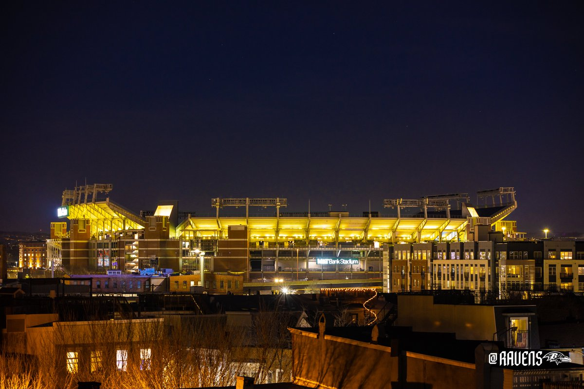 Tonight M&T Bank Stadium is lit yellow as a memorial for all residents of Baltimore that we have lost due to COVID-19💛