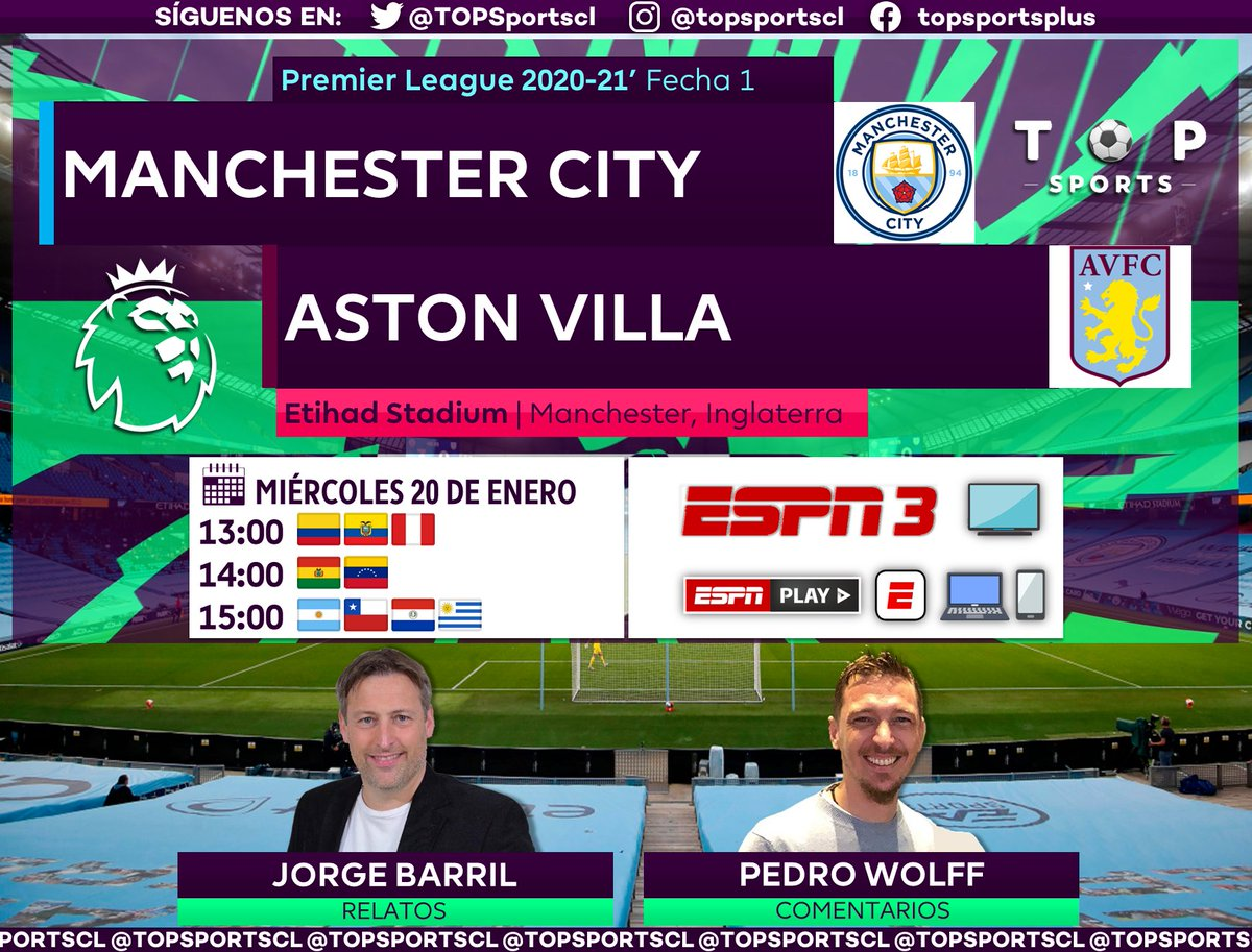 #PremierLeague 🏴⚽️ Fecha 1 Manchester City [@ManCityES] 🆚 Aston Villa [@AVFCOfficial] 🎙️ Relatos: @Jorge_BarriL  🎙️ Comentarios: @WolffPedro  🤳 #PREMIERxESPN | #MCIAVL #PL 📺 ESPN 3 Sudamérica 📱💻 ESPN Play 🔃❤️