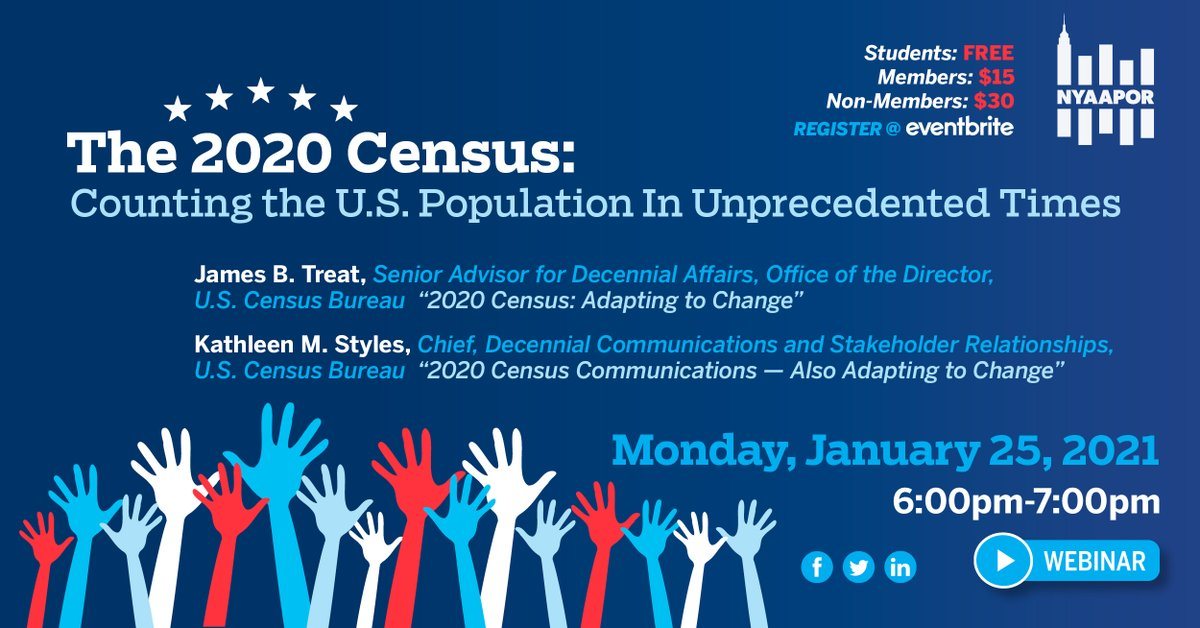 Join NYAAPOR for a U.S. 2020 Census Discussion  Monday, January 25th at 6pm (ET).  Register here:  #NYAAPOR #Census2020 #Census