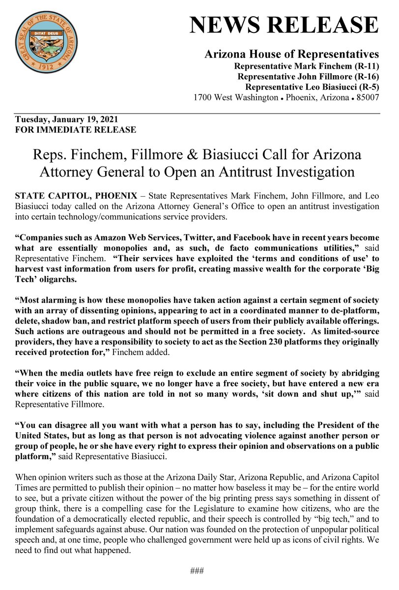 Representatives @MarkFinchem, @JMFILLMORE & @Leo4AzHouse Call for Arizona Attorney General to Open an Antitrust Investigation  #azleg