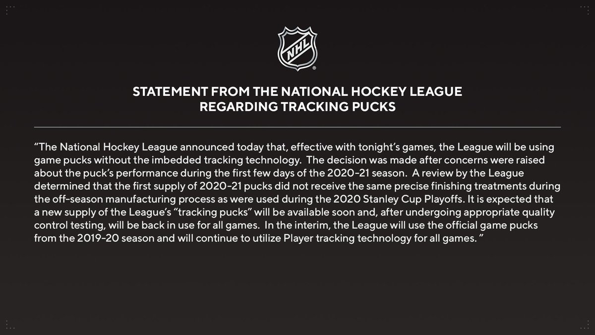 Replying to @PR_NHL: Statement from the @NHL regarding tracking pucks.