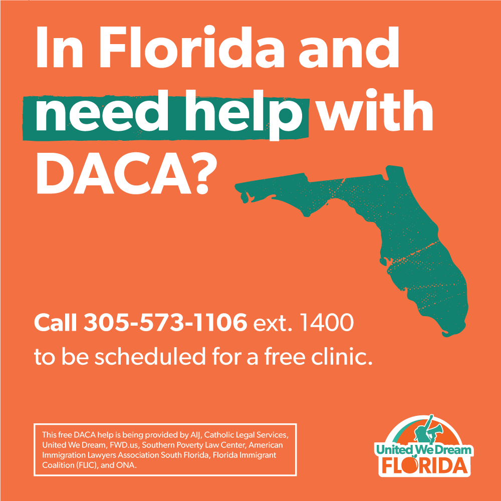 FLORIDA: We've linked up with local partners to provide free assistance for first-time DACA applicants!  ☎️ CALL 305-573-1106 ext. 1400 to be scheduled for a free clinic.