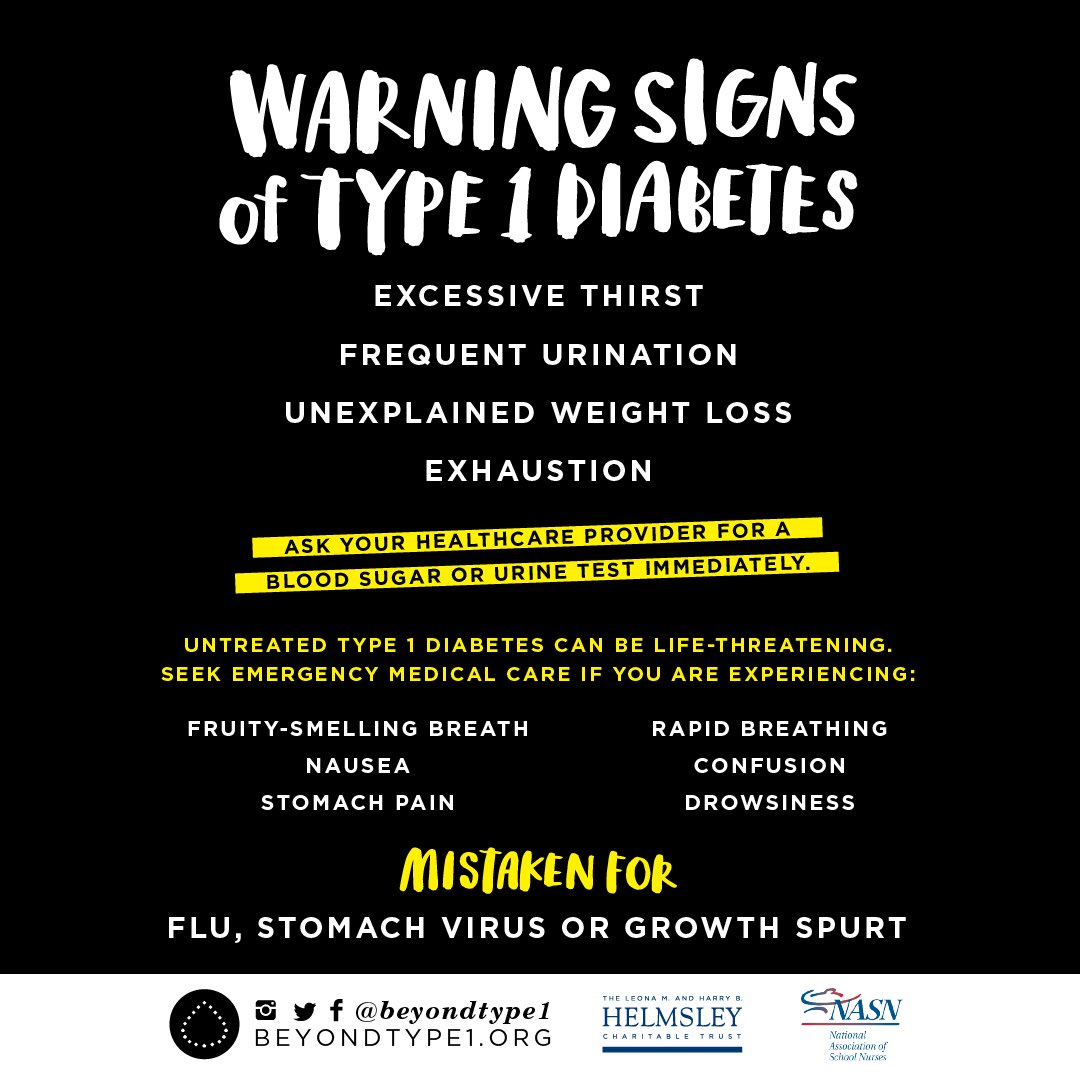 Type 1 Diabetes can lay dormant for decades and then come on with under the radar symptoms before becoming lethal quickly. The warning signs can be as subtle as a persistent lack of appetite or frequent urination. Sudden weight loss is a major red flag. Learn more @BeyondType1