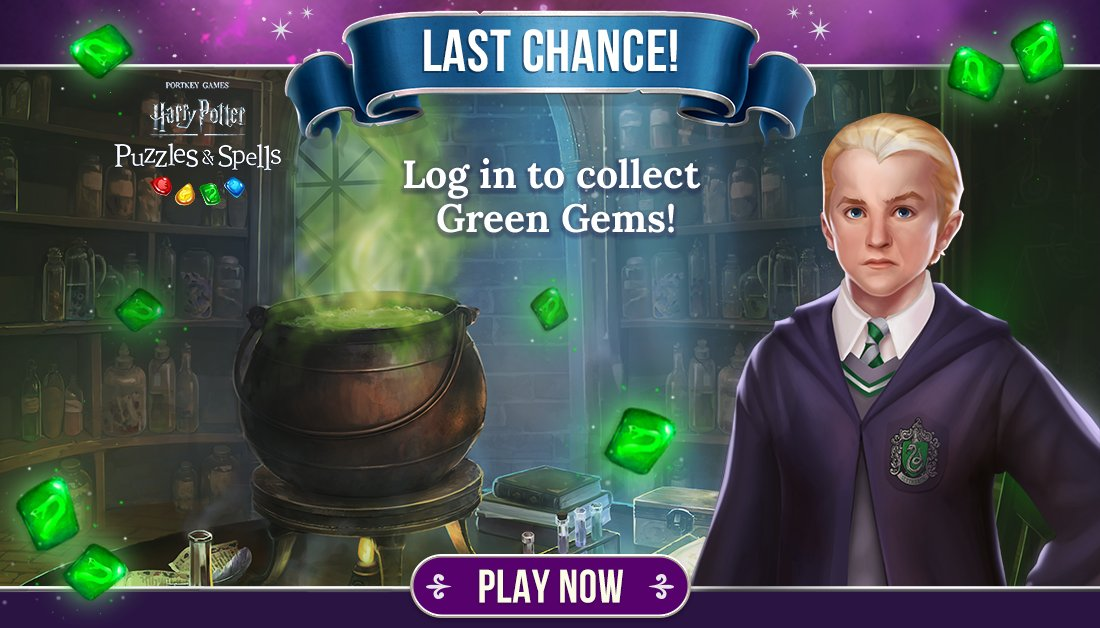 Still have gems to collect? Receive a multiplier for completing puzzles on your 1st or 2nd attempt. Event ends soon!  Play #SlytherinCelebration NOW ➡️   #HarryPotterPuzzlesAndSpells #Match3  #Slytherin #DracoMalfoy