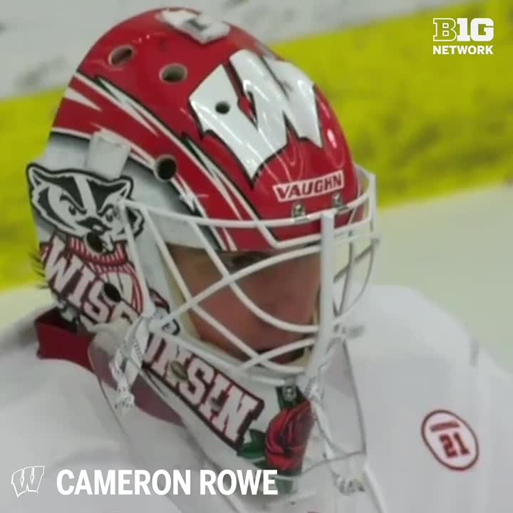 Nothing gets by @C_rowe00! 🚫🚨  The @BadgerMHockey goalie has earned B1G 3rd Star after earning his first career shutout vs. Arizona State.